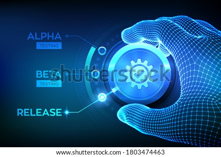 Software testing engineering concept. Alpha Beta Release testing. Wireframe hand turning a test process knob and selecting Release product mode. Software or app development phases. Vector illustration Stock foto ©