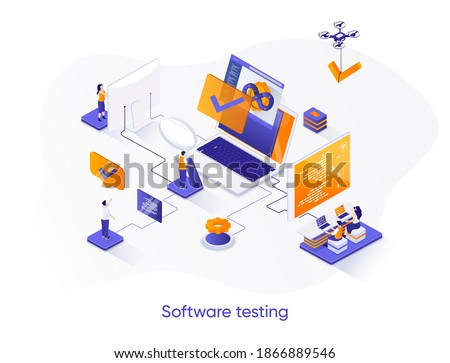 Software testing isometric web banner. Software debugging and quality assurance isometry concept. Search of bugs and analysis process 3d scene design. Vector illustration with people characters. Сток-фото ©