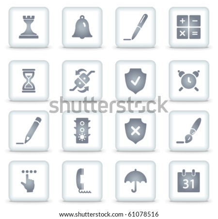 Software vector web icons, white square buttons