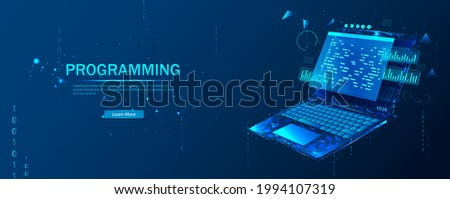 Software, web development, programming concept. Abstract programming language and program code on a laptop screen. Web development, coding, and programming. Polygonal style.