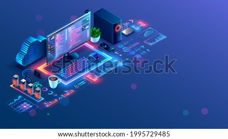 Software, web development, programming concept. API Program code in Development environment on screen PC. Desk or workplace of programmer. Online Coding workshop. Text of program on display computer.