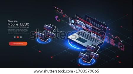 Software, web development, programming concept. Programming,  testing cross platform code, web banner. Abstract Programming language and program code on screen laptop. Computer code on laptop, phone.