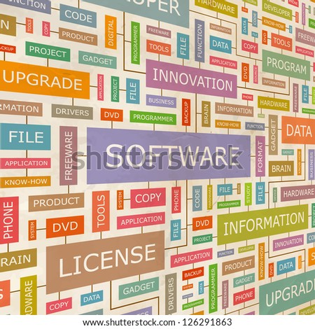 SOFTWARE. Word collage. Vector illustration.
