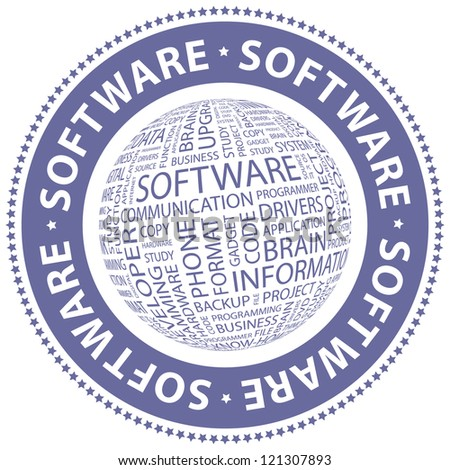 SOFTWARE. Word collage. Vector stamp.