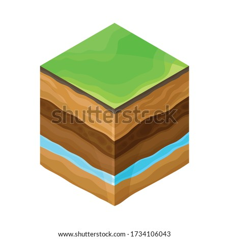 Soil Cross Section Showing Layers as Geology Sampler for Research Vector Illustration Stock photo ©