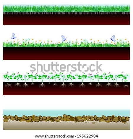 soil cutaway field of grass