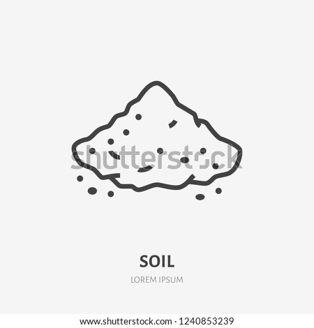 Soil flat line icon. Vector thin sign of ground, cement, sand. Loose substance illustration.