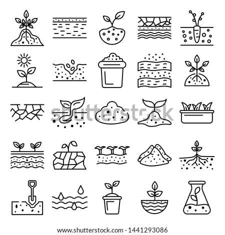 Soil ground icons set. Outline set of soil ground vector icons for web design isolated on white background