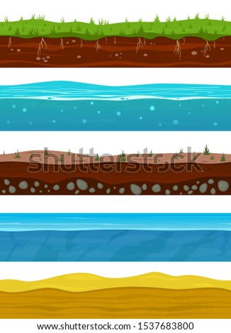 Soil layers. Game ground surfaces with land grass, dried desert sand, water and ice. Landscape levels seamless vector nature grounded set