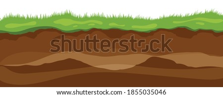 Soil layers. Surface horizons upper layer of earth structure with mixture of organic matter, minerals. Dirt and underground clay layer under green grass