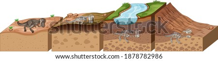 Soil layers with dinosaur fossil illustration Сток-фото ©