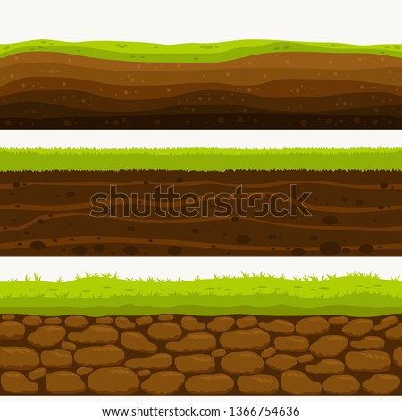 Soil Seamless layers. Landscapes of the earth. Layered dirt clay, ground layer with stones and grass on dirts, cliff texture, underground buried rock. The earth and green meadow. vector