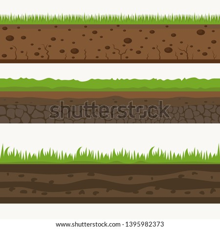 Soil Seamless layers. Landscapes of the earth. Layered dirt clay, ground layer with stones and grass on dirts, cliff texture, underground buried rock. The earth and green meadow. Realistic landscapes