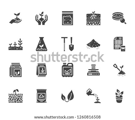 Soil testing flat glyph icons set. Agriculture, planting vector illustrations, hands holding ground with spring, plant fertilizer. Signs for agrology survey. Solid silhouette pixel perfect 64x64.