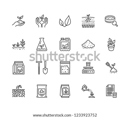 Soil testing flat line icons set. Agriculture, planting vector illustrations, hands holding ground with spring, plant fertilizer. Thin signs for agrology survey. Pixel perfect 64x64. Editable Strokes.