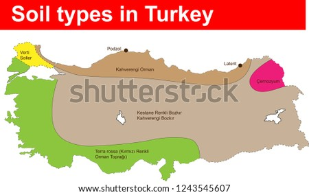 Soil types, distribution, decomposition, soil types, maps, marked on the map, turkey map