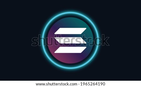 Solana logo with crypto currency themed circle black background design. Modern neon color banner for SOL token icon. Solana Cryptocurrency Blockchain technology concept. Foto stock ©