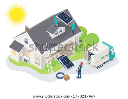 solar cell team constructor service install for new customer house isometric concept for smart home, the customers are standing there watching with pleasure for  modern changes to use free energy