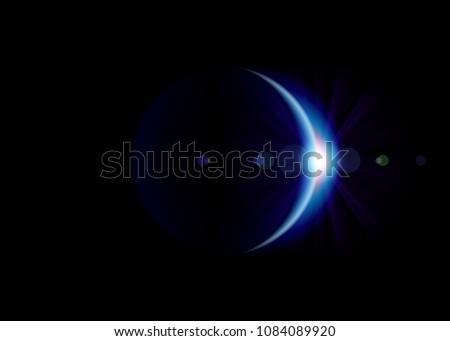 Solar eclipse. Blue planet with blazing edge