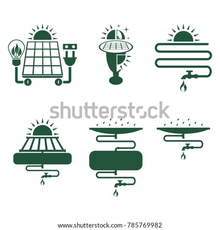 Solar electric power, night lamp with solar panel, solar water heater, rainwater harvest and reuse system. Abstract concept, set of icons. Vector illustration on white background.