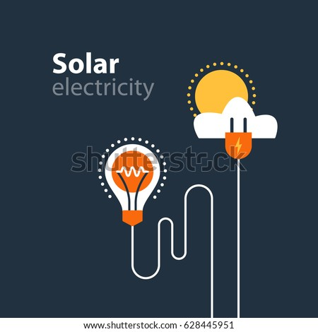 Solar electrical services and supply icons, energy saving concept, electricity connection graphic elements. light bulb and plug fork. Flat design vector illustration