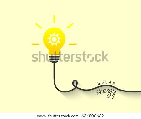Solar energy concept. Light bulb with shiny sun inside.