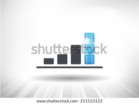 Solar Energy Growth Icon. Concept showing rising bar chart with solar panels as the highest bar. Background and graph layered for easy customization. Fully scalable vector illustration.
