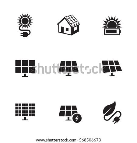 Solar energy icons set. Black on a white background