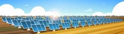 solar energy panel fields renewable station alternative electricity source concept photovoltaic district sunrise landscape background horizontal banner flat