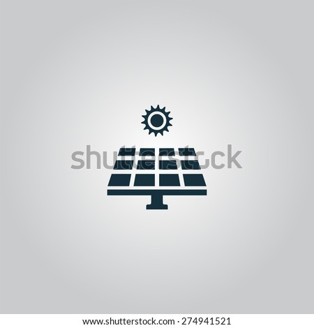 Solar energy panel. Flat web icon or sign isolated on grey background. Collection modern trend concept design style vector illustration symbol.