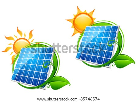 Solar energy panel icon with sun and green leaves for ecology or innovation concept, such a logo. Rasterized version also available in gallery