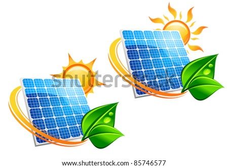 Solar energy panel icons with sun and green leaves for ecology concept, such a logo. Rasterized version also available in gallery