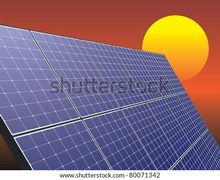 Solar energy panel over sunrise sky. Innovative technology illustration.
