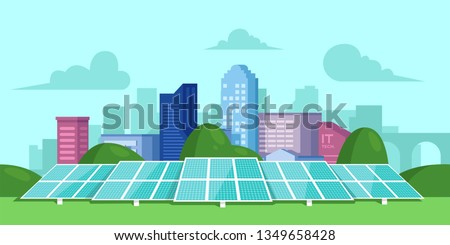 Solar energy. Solar batteries in the middle of a green field. City on the back. Clear modern design. Simple design template. Beautiful background. Flat style vector illustration.