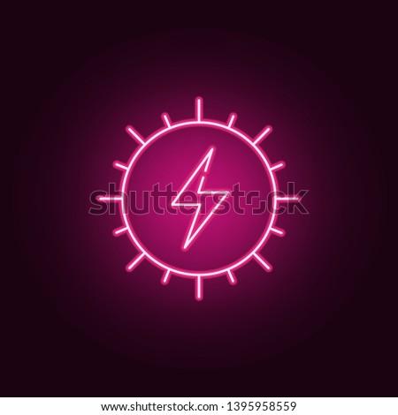 Solar enerji neon icon. Elements of ecology set. Simple icon for websites, web design, mobile app, info graphics Stok fotoğraf ©