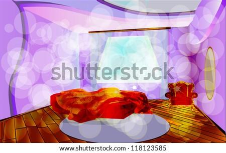 Solar morning. A room interior. A bed, an armchair, a mirror, a parquet, a carpet. EPS 10