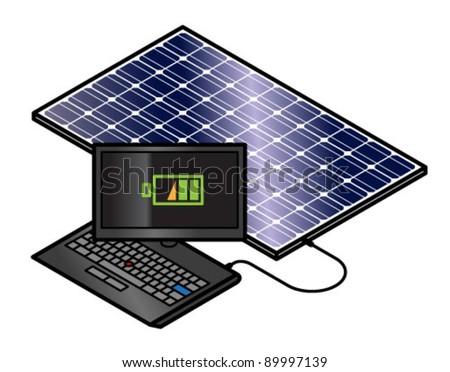 Solar panel charging a laptop.
