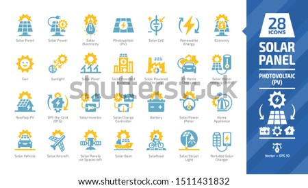 Solar panel color icon set with sun power photovoltaic (PV) home system and renewable electric energy technology glyph symbols: off the grid (OTG), inverter, charge controller, battery, meter. Сток-фото ©