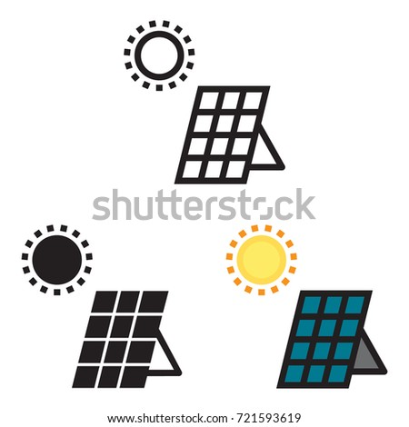 Solar panel energy icon in three variations, line, black and colored icon variations.
