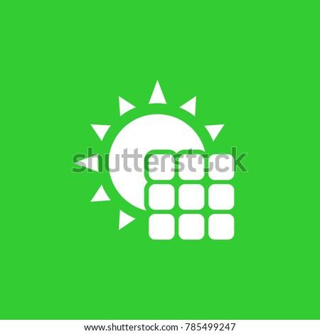 solar panel icon, vector pictogram