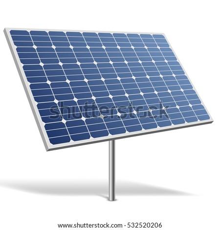 Solar panel isolated on white background vector illustration. Alternative renewable energy resource image. Green power technology.