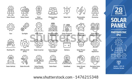 Solar panel outline icon set with sun power photovoltaic (PV) home system and renewable electric energy technology editable stroke line signs: house, cell, battery, vehicle, aircraft and spacecraft.