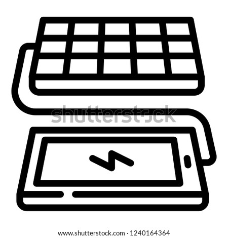 Solar panel phone charging icon. Outline solar panel phone charging vector icon for web design isolated on white background