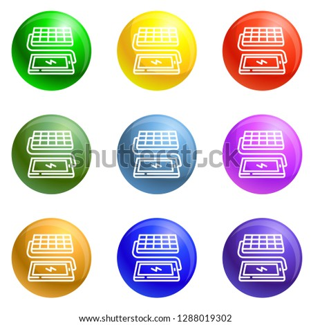 Solar panel phone charging icons vector 9 color set isolated on white background for any web design