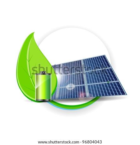 Solar panel vector. Electricity Environmental Concept