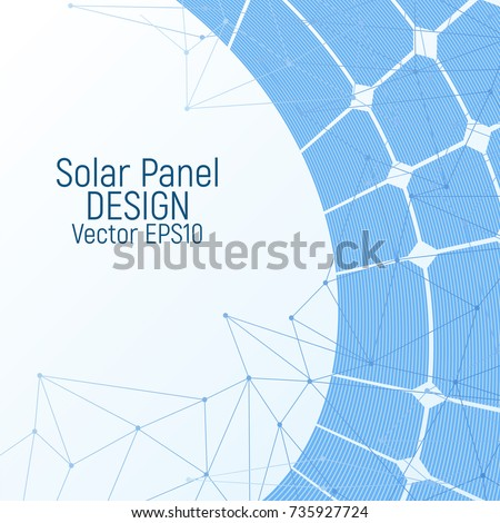 Solar panel vector illustration. Renewable energy resources. White and blue design.