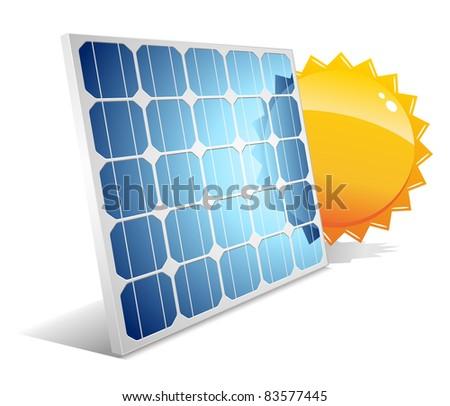 Solar panel with sun.Vector illustration.