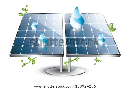 Solar panel with swirling plants and blue drops EPS 10 isolated