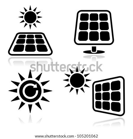 Solar panels black icons set