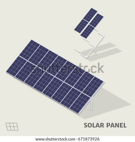 Solar panels in isometric view with shadow including with symbol.
